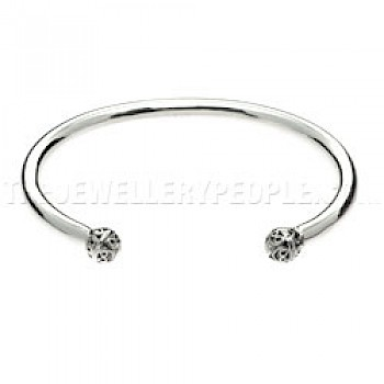 Carved Spheres Open Silver Bangle - 5mm Wide