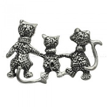 Cat Family Silver Brooch - 35mm Wide