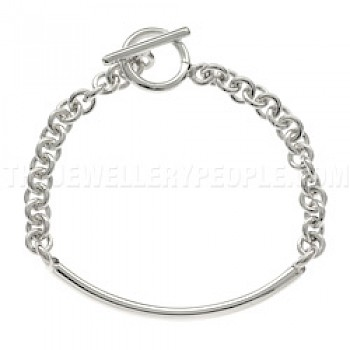 Central Tube Satin-finish Silver Chain Bracelet