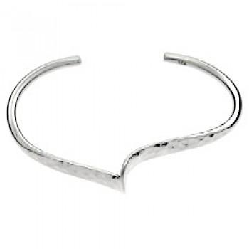 Central Wave Part Hammered Silver Bangle - 12mm Wide