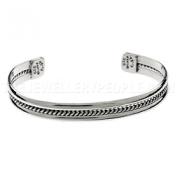 Centre Rope Silver Bangle - 9mm Wide