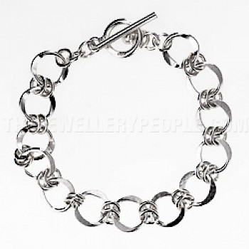 Chained Circles Silver Bracelet