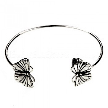 Childs' Butterfly Silver Bangle
