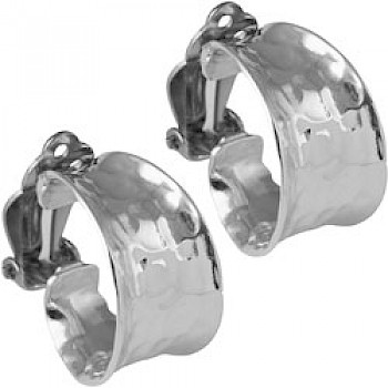 Chunky Hammered Silver Hoop Clip Earrings - 22mm