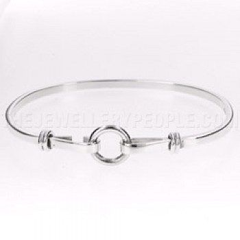 Circle Catch Silver Bangle - 3mm Solid