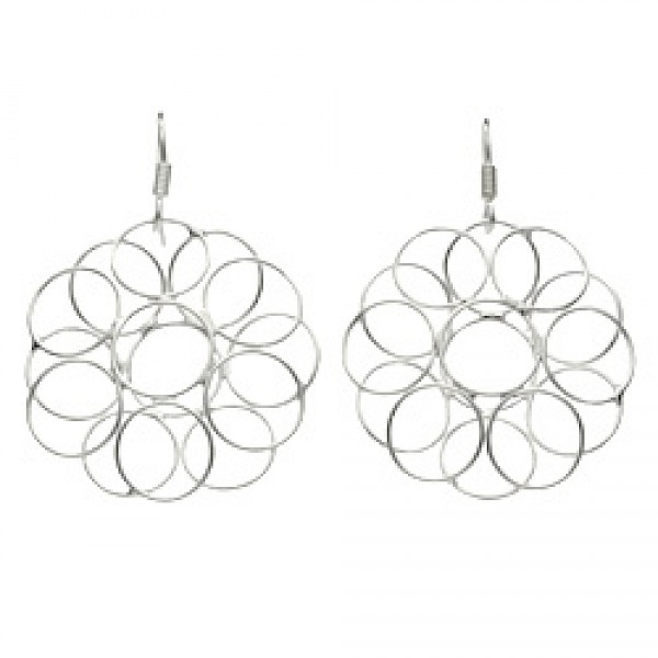 Circle Flower Silver Earrings - 42mm Long