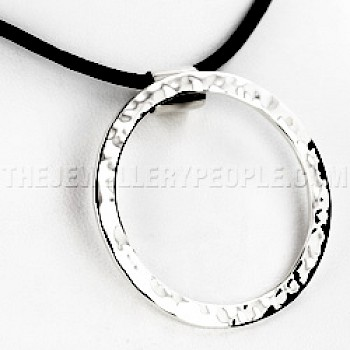 Circle Hammered Silver Pendant - Small