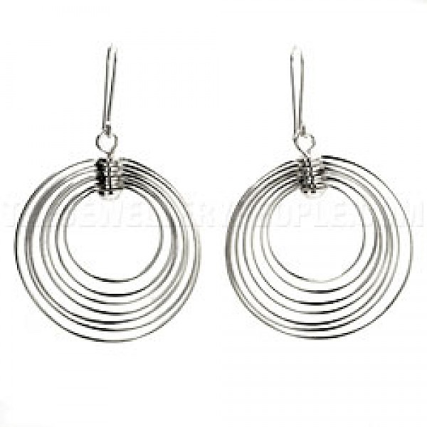 Circle Multi Wire Silver Earrings - 60mm Long