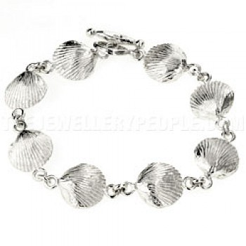 Clam Shell Silver Bracelet - 14mm Wide