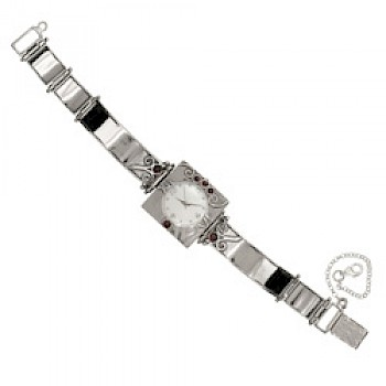 Classic Silver and Garnet Watch