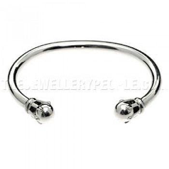 Claw Set Open Silver Bangle - 5mm Wide