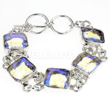 Clear Blue Dichroic Glass & Silver Squares Bracelet-Heavy