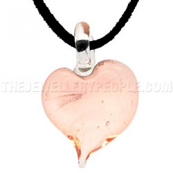 Clear Pink Glass Heart Pendant