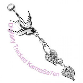 Clear Swallow Dangle Belly Bar