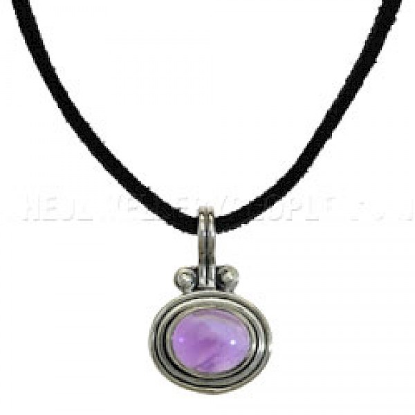 Coil Oval Amethyst & Silver Pendant