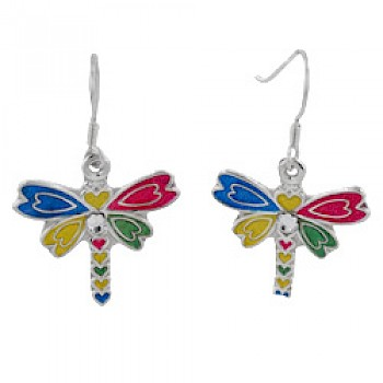 Coloured Dragonfly Silver Stud Earrings - 30mm