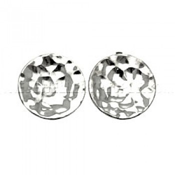 Concave Disc Hammered Silver Clip Earrings - 18mm wide