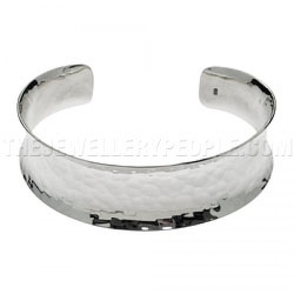 Concave Hammered Silver Bangle - 23mm Wide