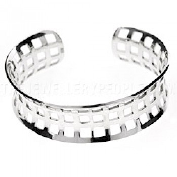 Concave Open Silver Window Bangle - 20mm Wide