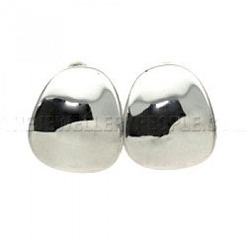Concave Petal Silver Clip-on Earrings - 17mm