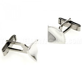 Concave Square Silver Cufflinks