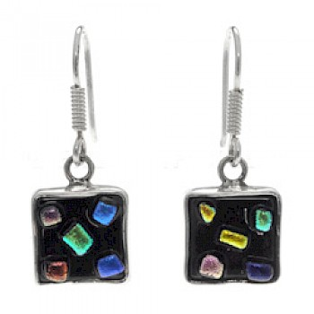 Confetti Dichroic Glass & Silver Earrings - Square