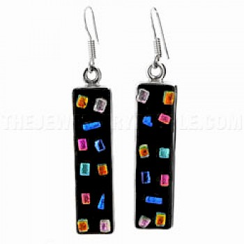 Confetti Dichroic Glass & Silver Earrings