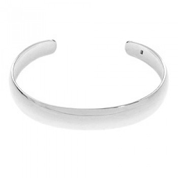 Convex Polished Silver Bangle - 12mm Wide