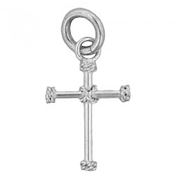 Cross Rope End Silver Charm