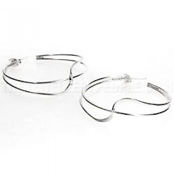 Cross Wave Silver Hoop Earrings - 35mm Wide
