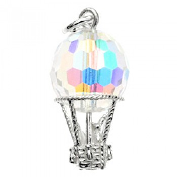 Crystal Hot Air Balloon Silver Charm