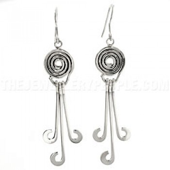 Curled Three Tail Silver Earrings - 60mm Long