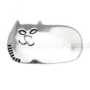 Curled Up Cat Silver Brooch Pendant