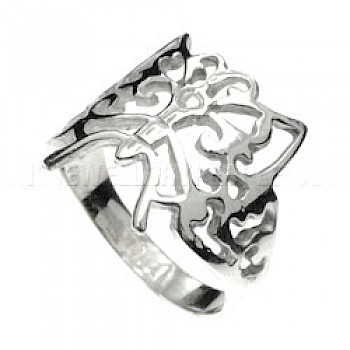 Curly Butterfly Silver Ring