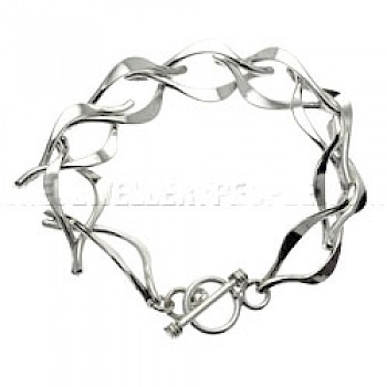 Curved Double Oval Link Silver Bracelet