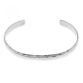 Curved Edge Hammered Silver Bangle - 6.5mm Solid