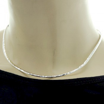 Curved Edge Hammered Silver Collar - 3mm Solid