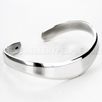 Curved Plain Silver Cuff Bangle - 11mm Wide
