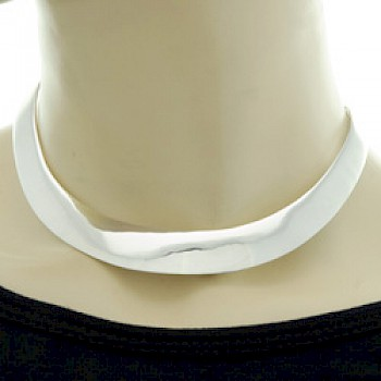 Curved Polished Silver Collar - 16mm Wide