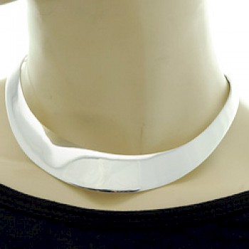 Curved Polished Silver Collar - 20mm Wide
