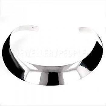 Curved Polished Silver Collar - 22mm Wide