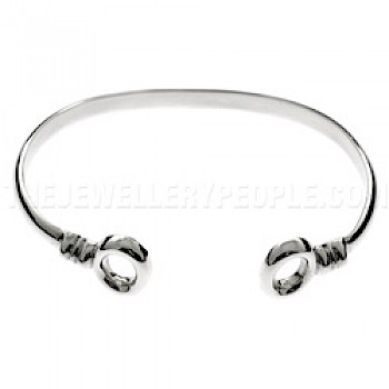 Curved Polo Silver Bangle - 3mm Solid Wire