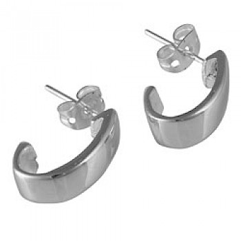 Curved Silver Stud Earrings - 16mm Long