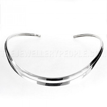 Curved Slot Silver Collar - 10mm Wide