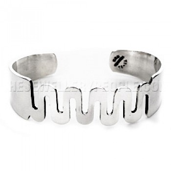 Curved Wave Silver Cuff Bangle - 18mm Wide
