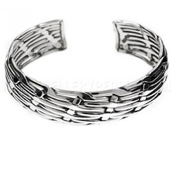 Curved Woven Open Silver Bangle - 22mm Wide