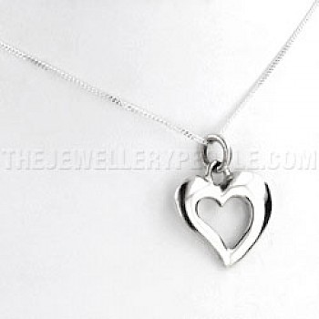 Curvy Heart Outline Silver Pendant