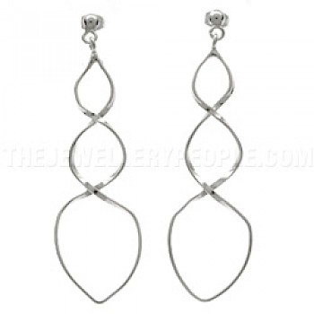 Curvy Twist Silver Earrings - 57mm Long