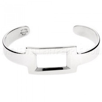 Cut Out Rectangle Open Silver Bangle - 20mm Wide