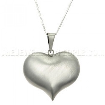 Cute Brushed Silver Heart Pendant - Large
